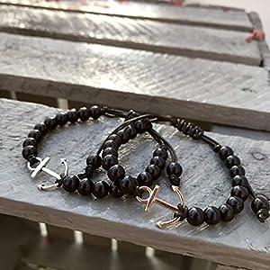 Ankerarmband Perlenarmband, schwarz, Anker silber oder gold – größenverstellbar -| Freundschaftsarmband | Makramee | Partnerarmband | Küstenkind | Geburtstagsgeschenk VERSAND KOSTENLOS ♥️