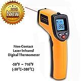 Termometro Infrarossi,W-Unique Termometro Raggi Infrarossi IR Laser LCD con Retroilluminazione,Senza Contatto Tester di Temperatura -50~380°C(-58~716°F)