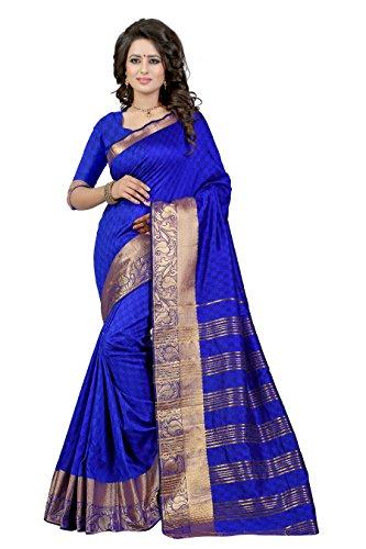 J B Fashion Women's Cotton Silk blue Saree With Blouse Piece(sarees for...