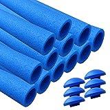 awm® Trampolin Schaumstoffpolster blau, Schaumstoff Schaumstoffrohre inkl. Kappen Stangenschutz- Set (12x 940mm)