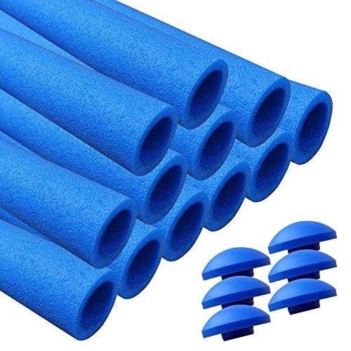 AWM Trampolin Schaumstoffpolster blau, Schaumstoff Schaumstoffrohre inkl. Kappen Stangenschutz- Set (12x 840mm)
