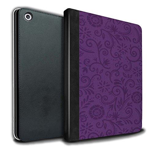 Stuff4® PU-Leder Hülle/Case/Brieftasche für Apple iPad 9.7 (2017) Tablet/Lila Blume Muster/Floral Strudel-Muster Kollektion - Florale Kollektion