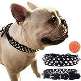 teemerryca Spiked Hundehalsbänder dauerhaft Mittlere Schwarze Hundehalsbänder aus Leder für Bulldoggen Jack Russell Terrier robuste Halsbänder Einstellbare Hundehalsbänder 32cm-38cm