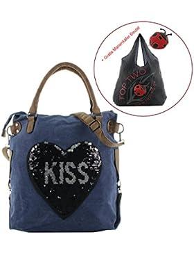 JSI Streichpailletten Tasche Shopper Kiss / Mund mit Gratis Faltbeutel