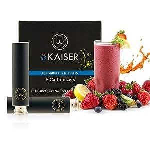E-Zigarette | E-Liquid 5er Pack Schwarz Cartomizer | Frucht-Mix | E-Shisha | für eKaiser Wiederaufladbar E-Shisha Zigarette (Apfel, Blaubeere, Kirsche, Pfirsich, Erdbeere)