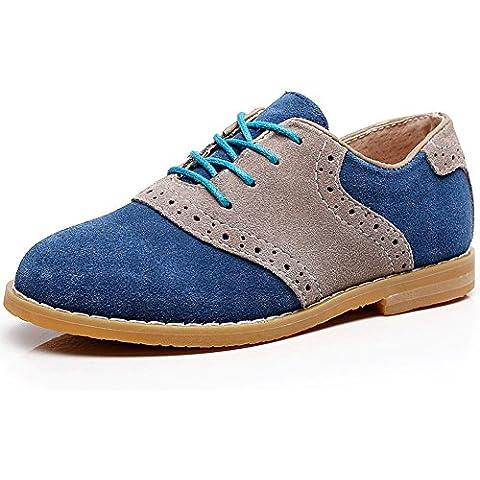 Shenn Chicos Niños Vestir Uniforme Acento Irlandés Colegio Ante Cuero Oxfords Zapatos