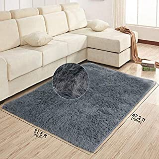 Area Rug Dark Grey  Small Modern Shaggy Carpet for Living Room Bedroom for Relaxing Reading Baby Pet (120x 80cm)