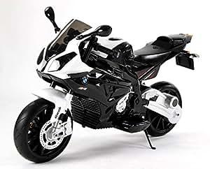 Moto électrique pour enfants BMW S 1000 RR, véhicule alimenté par batterie, sous licence, roues souples EVA, cadre en métal, double moteur, batterie de 12 V