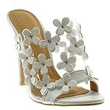 Angkorly - Damen Schuhe Mule Pumpe - Stiletto - Slip-On - schick - Blumen - Nieten - besetzt - transparent Stiletto high Heel 12 cm - Weiß 2461-751 T 39
