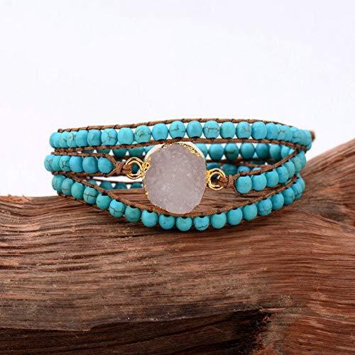 UPPPP Druzy Armband vergoldet konkaver Charme 3 Stränge Wickeln Armbänder Großhandel handgemachte böhmische Weben Armband