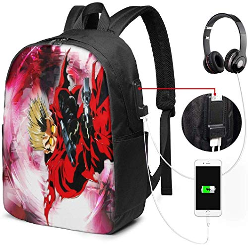 gshihuainingxianruanlius Trigun Anime Männer und Frauen Large Laptop Backpack 17 Zoll, Student Rucksack Freizeit Wanderrucksack