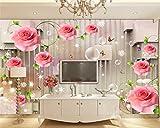 Mbwlkj 3D Tapete Für Wohnzimmer Rose Reben Schmetterling Blase 3D Stereo Streifen Tv Hintergrundbild 3D Wandbild-150cmx100cm
