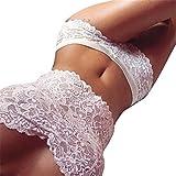 Unterwäsche Damen,Sannysis Spitze Tube Oben Slip Unterwäsche Set (Weiß, XL)