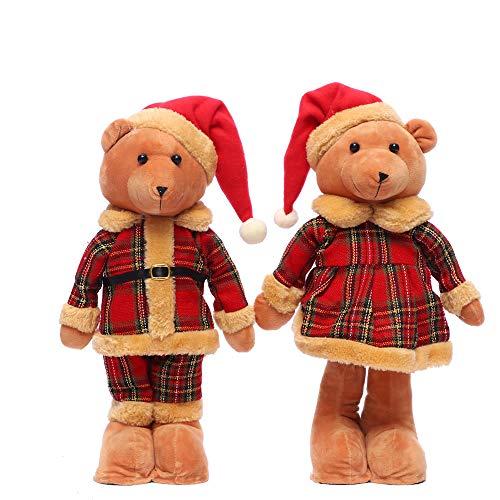 ZLD Weihnachtsdekorationen, Teddybären-Ornamente, Plush-Toys, Shopping Malls, Christmas Scene Layout Props, Zweistück