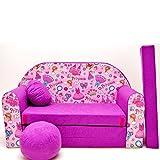 M35 Kinder Sofa Couch Schlafsofa Kinderzimmer Bett gemütlich (pink princess)