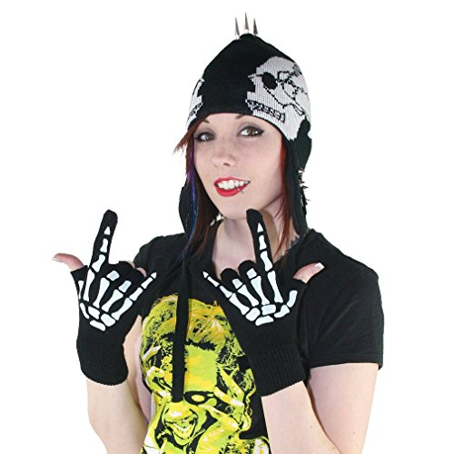 Too Fast Unisex Fingerlose Handschuhe Skelett Hand - Glow-In-The-Dark Metal (In The Glow Handschuhe Dark)