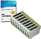 8 SCHWARZ T0711H Druckerpatronen kompatibel für Epson Stylus D120, DX7400, DX7450, DX8400, DX8450, DX9400, DX9400F, BX3450, SX205, SX210, SX215, SX218, SX405, SX410, SX415, SX515W, SX600FW, SX610FW, Stylus Office B1100, B40W, BX300F, BX310FN, BX600FW, BX610FW - hohe Kapazität