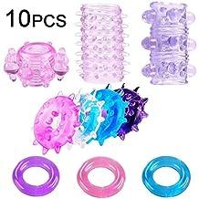 Actualizado 10 piezas de juguetes de silicona premium para una erección más larga (color aleatorio