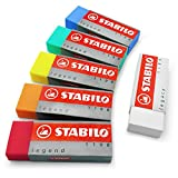 """STABILO Legend & Legacy Plastic Rubber Eraser Mixed Set of 6 Erasers - """"One of Each Colour"""""""