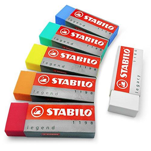 """Stabilo """"Legend & Legacy"""" Kunststoff-Radiergummi-Set aus 6Radiergummis–von jeder Farbe..."""