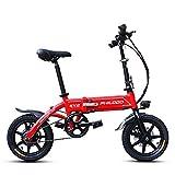 TIKENBST Vélo électrique Pliant à Disque - Portable Et Facile à Ranger dans Un Bateau Caravanier. Batterie Lithium-ION à Charge Courte Et Moteur Silencieux,Red