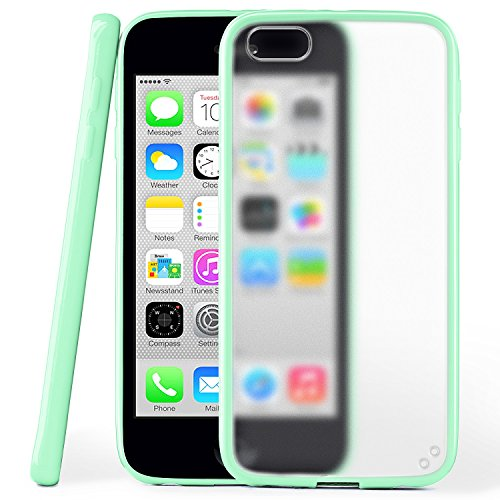 iPhone 5C Hülle Slim Transparent Grün [OneFlow Impact Back-Cover] Dünn Schutzhülle Silikon Handy-Hülle für iPhone 5C Case TPU Tasche Matt JADE-MINT