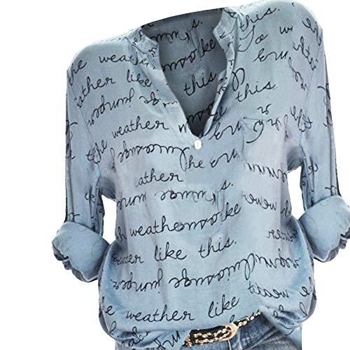 KaloryWee 2018 Damen Frauen Plus Größe V-Ausschnitt Taste Langarm Brief Bluse Pullover Tops Shirt (Gr.46,Blau)