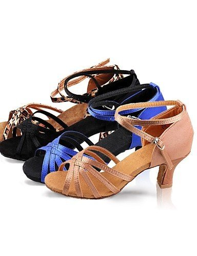 ShangYi Chaussures de danse ( Noir / Bleu / Marron / Léopard ) - Non Personnalisables - Talon Bas - Satin - Latine