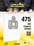 TopFilter 475, 4 sacs aspirateur pour AEG, Progress et Tornado boîte de sacs d'aspiration en non-tissé, 4 sacs à poussière (30 x 26 x 0,1 cm)