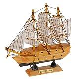 Maquette de Voilier en Bois Bateau à Voile Décoration Méditerranéen Artisanal Craft - # 4, 16cm...