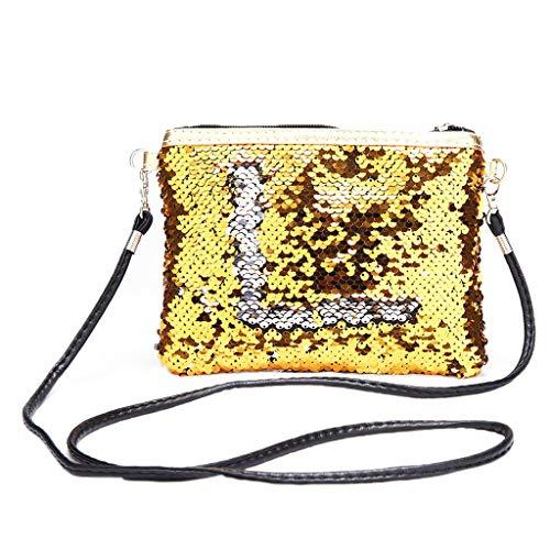 XTYaa Damen Handtasche/Make-up-Tasche, mit Glitzer, Pailletten gold