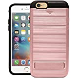 Cubix Hidden Card Slot Case For IPhone 6 IPhone 6s Armor Cover Brushed Slim Hybrid Back Cover Kickstand (Rose Gold) For Apple IPhone 6 Apple IPhone 6s