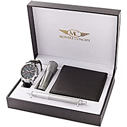 CLPA765-ORANGE-FONCE Torch, Wallet, Pen and Watch Gift Set for Men