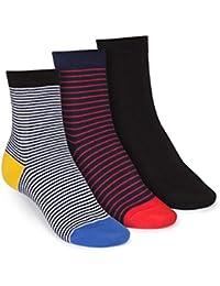 ThokkThokk 3er Pack Mid-Top Socken Stripe/B&W Striped/Black GOTS Fairtrade