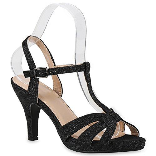 Damen Sandaletten Glitzer | Riemchensandaletten Lack | Party Schuhe Metallic | Stiletto Sandalen Strass Schwarz Glitzer