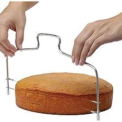 DaoRier Cortador tartas tartas Cortador De Acero Inoxidable Molde y herramientas de modelado ajustable grosor doble línea tartas Cut Herramientas