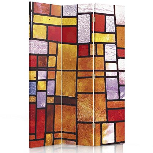 Feeby Frames. Raumteiler, Ggedruckten aufCanvas, Leinwand Wandschirme, dekorative Trennwand, Paravent beidseitig, 3 teilig (110x150 cm), ABSTRAKTION, Geometrie, FARBIGES Glas, ORANGE, ROT