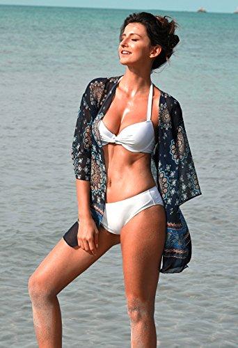 Angerella Frauen-Weinlese-reiner Farben-Bikini-Satz Klassischer Push-up Badeanzüge Bikini Weiß