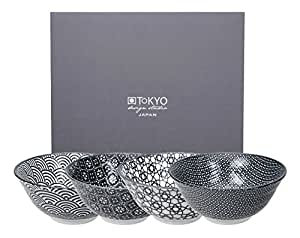 Tokyo Design Studio Nippon Black Lot de 2 bols Tayo, 15,2x 6,7cm, noir/blanc