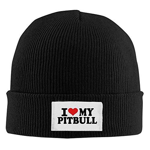 Bgejkos Adult Fashion Ich Liebe Meine Pitbull Cotton Kitted Cap Wollmütze, Wintermütze QW376