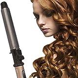 HJKLC Fer à boucler Cheveux 32mm en Céramique Fer à friser,Céramique 360 Degrés Bigoudi avec écran LCD et Réglage de la Température Fer à Friser Professionnel