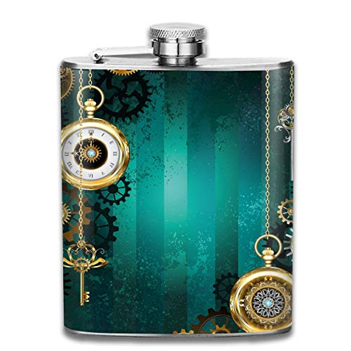 Antique Items Watches Keys 7 Oz Pocket Hip Alcohol Liquor Flask Print Printing-Made from 304(18/8) Food Grade Stainless Steel