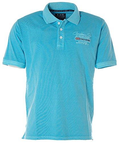 Kitaro Herren Kurzarm Shirt Poloshirt Polokragen Pikee -Caribbean Sea- Sky