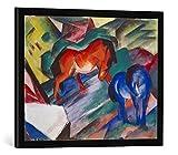 Gerahmtes Bild von Franz Marc Rotes und blaues Pferd, Kunstdruck im hochwertigen handgefertigten Bilder-Rahmen, 70x50 cm, Schwarz matt