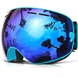 Ski Goggles, COPOZZ G1 Skiing Goggles For Snowboard Jet Snow - For Women Men Ladies Youth Teen - OTG Over Glasses Anti Fog UV Protection Helmet Compatible Interchangeable Lens Sunglasses - Blue