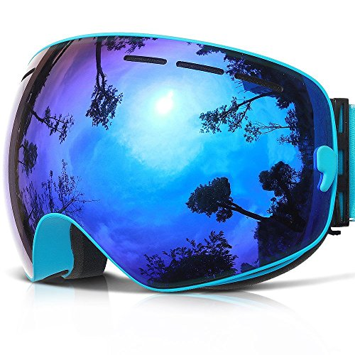 Maschera sci,copozz g1 occhiali maschera da sci neve snowboard - per uomo donna adulti adolescente giovani ragazzo ragazza - con otg casco compatibili sole uv400 anti-fog specchio intercambiabile lente (blu)