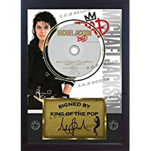 "Michael Jackson firmada foto enmarcada y ""mala CD disco presentación pantalla"