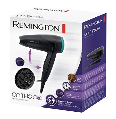 Remington D1500 -  Secador de pelo de viaje,  plegable,  difusor compacto y concentrador,  2000 W,  color negro y verde