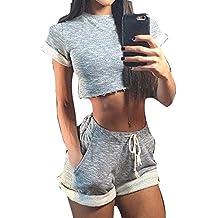 Juleya Juegos Yoga Mujer Bra + Shorts Traje de Deporte Mujer Chándal cómodo Suave Raya Tops