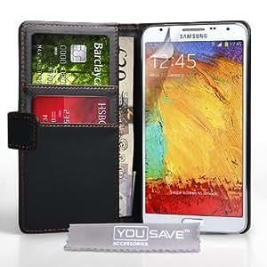 Yousave Accessories Coque Samsung Galaxy Note 3 Neo Etui Noir PU Cuir Portefeuille Housse